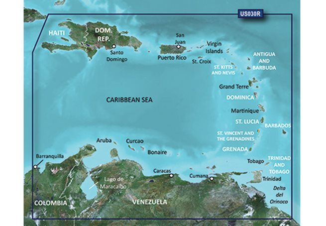 Southeast Caribbean  HXUS030R - Garmin BlueChart g3 mSD/SD